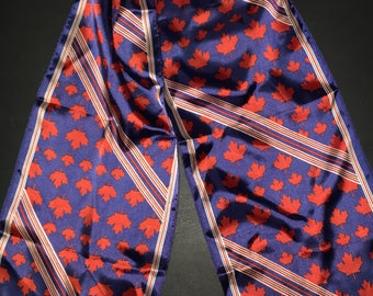 Vintage Skemo Canadian scarf maple leaf red and blue