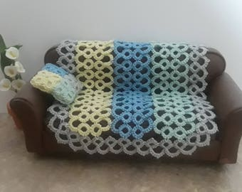 Hand Tatted Miniature Afghan and Matching Pillow in Pastel Colors