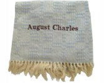 Cotton Eco- Friendly Fringed Baby Blanket with Name