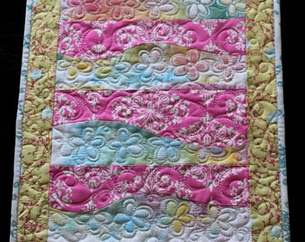 MarveLes SALE  FLOWER up TABLERUNNER Quilt Damask Home Dining Decor Pink Aqua Yellow Green Pastel  Mother's Day
