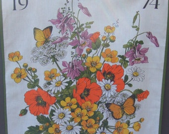 Vintage Kitchen Towel. 1974 Calendar. Swiss Made.  Flowers and Butterflies.Alba. Cotton.