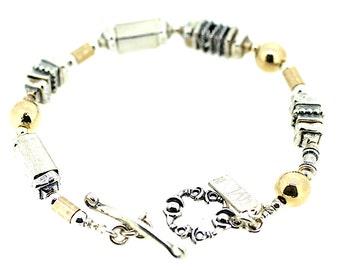 Ethnic Bracelet / Silver, Gold Random Bracelet /Handmade Shapes Bracelet /Ethnic Hammered Bracelet/ Random Piece Bracelet / T Bar Bracelet