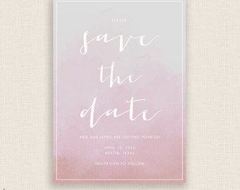 BLUSH WATERCOLOR - DIY Printable Save the Date - Calligraphy Wedding