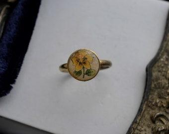 Vintage 1960's Yellow Flower Bezel Ring, Girl's Ring, Women's Jewellery
