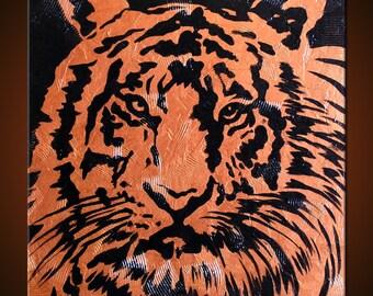 "Original Abstract Art Painting Modern Contemporary Tiger Animal Impasto Texture ... 24"" x 24"" ... ""Watching"""