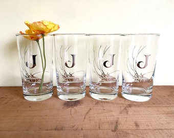 Vintage Silver Rimmed Monogram Glassware, Letter J, Initial J, Set of Four Lowball or Juice Glasses