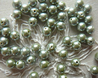 Set of 50 olive green round beads, 6 mm in diameter