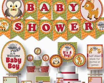 Woodland Baby Shower Decorations Printable Digital PDFs Instant Download DIY banner centerpiece favor invitation - fox owl racoon deer bunny