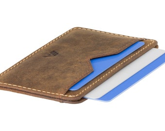 A-SLIM Nano Yaiba XS - Leather Card Holder - Minimalist Wallet - Slim Wallet - Card Wallet - Raw Tan - Small Wallet - Card Sleeve