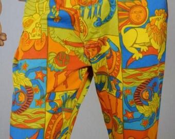 Vintage 1970's Men's Sears Kings Road Zodiac MoD HiPPiE Pants Trim 'N Tight Size 32 33