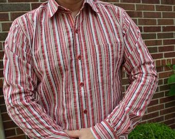 Men's Handmade Cotton Long Sleeve Button Down Pocket Shirt - Red Stripe - Matthew H821