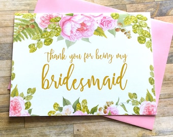 Thank you for being my bridesmaid card - Greenery Peony Floral Bridal Party Cards - Maid of Honor - Flower Girl - Matron of Honor - GRACEFUL