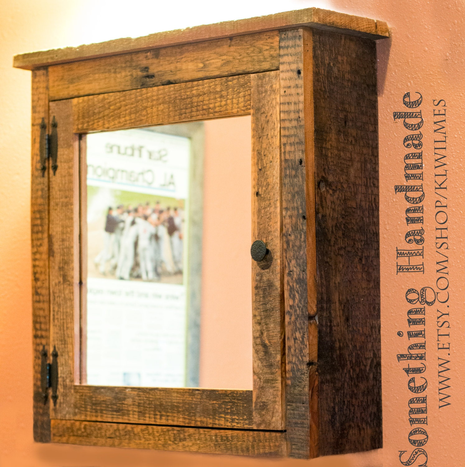 Rustic Reclaimed Barn Wood Medicine Cabinet With Mirror Made