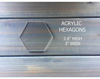 "Clear Acrylic Hexagon Tiles - Hexagon Place Cards- Wedding Place Cards- 3"""