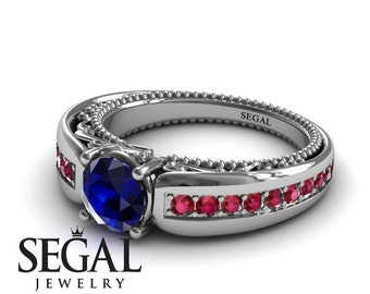 Unique Engagement Ring White Gold Art Deco Ring Antique Engagement Blue Sapphire Ring Victorian Ring Designer Engagement Ring - Gabriella