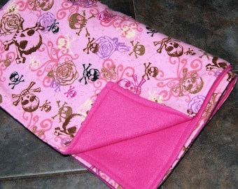 Pink Skull and Crossbones Baby Blanket - Double-Sided Fleece MTCoffinz - Ready to Ship bby girl gift