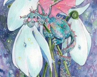 "ACEO Little Snowdrop Dragon, 3.5x2.5"", Limited Edition Print, whimsical magic dragon fantasy illustration"