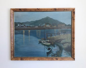River Reflections Large Moody Original Antique Oil Painting Framed