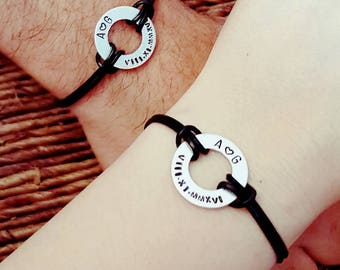Set of two, Personalized Bracelet, Engraved, Hand Stamped, Roman Numerals, Aluminum, Leather, Couples Bracelet, Washer, Gift for Him