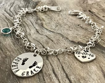 New mother gift | New mom bracelet |  New mom jewelry | New mommy bracelets | New mom gift | Personalized Bracelet Sterling Silver