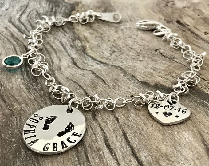 New mother gift | New mom bracelet |  New mom jewelry | New mommy bracelets | New mom gift | Personalized Bracelet Sterling Silver
