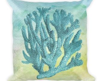 Teal Watercolor Coral Square Throw Pillow Ocean Sea Theme Cushion Decor