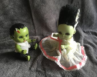 Mini Baby Frankenstein & His Bride Dolls