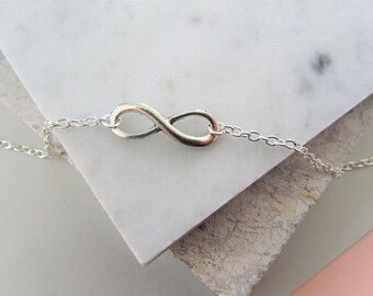 Silver Infinity Charm Necklace, Silver Charm Necklace, Layering Necklace, Gift for Her, Bridesmaids Gift, Necklace, Jewelry