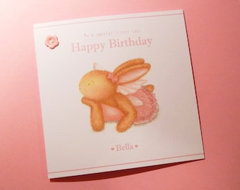 Personalised Birthday Card – Fairy Bella Birthday Card - Bobby Bunny and Friends Illustrated Luxury Card Range by Jennifer Keelan
