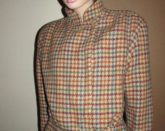 Vintage 'hounds-tooth' wool jacket.Italian vintage pied-poule fabric jacket.Vintage Mani jacket made in Italy.