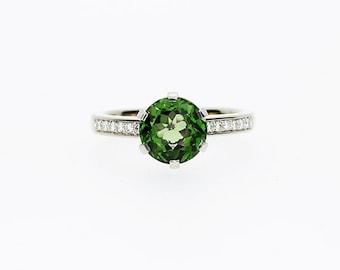 2.54ct green Tourmaline ring, Green, Diamond, engagement ring, white gold, Tourmaline engagement ring, solitaire, Green Tourmaline
