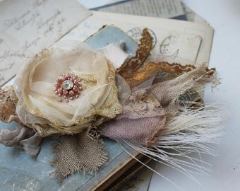 Shabby textile flower brooch Shabby chic flower pin Romantic Linen and Lace pin