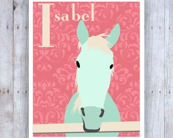 Horse Art Wall Decor, Horse Nursery Art, Personalized with Name, Horse Bedroom Art, Equestrian Decor, Horse Wall Decor, Equine Art