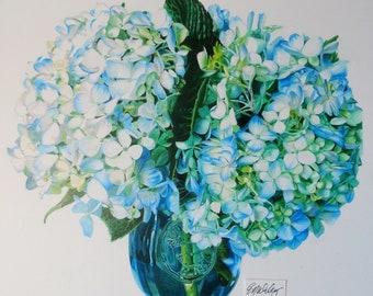 Blue and Green Hydrangeas