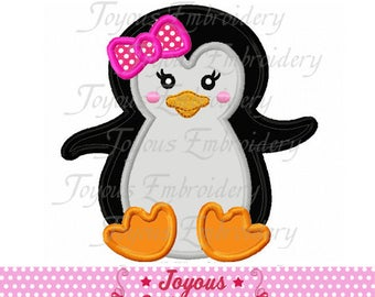 Instant Download Girl Penguin Baby Applique Embroidery Design NO:2430