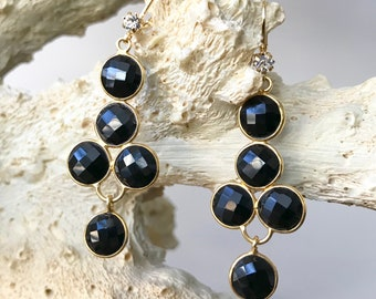 Black Onyx and Crystal Earrings   Black Earrings, Gift for Mom, Mothers Day Gift, Bridesmaid Gift, Gift for Her, Black Onyx Earrings