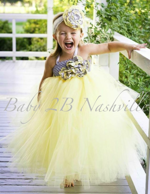 Yellow flower girl dress wedding flower girl dress all sizes mightylinksfo Image collections