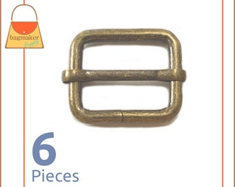 "1 Inch Movable Bar Purse Strap Slides, Antique Brass Finish, 6 Pieces, Handbag Purse Bag Making Hardware Supplies, 1"", BKS-AA033"