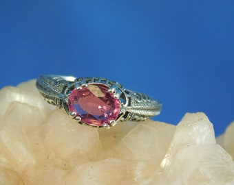 1.34 ct. Oval Pink Tourmaline Ring Art Deco Style Filigree Sterling Silver