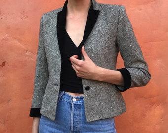 Vintage 1970s Women's Black White tweed Cropped blazer coat jacket with velvet lapel. I. Magnin. vintage wool blazer
