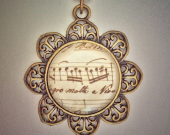 Beethoven Sheet Music Pendant, music notes, piano notes, music lover gift, flower pendant