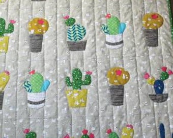 """Baby cactus pattern by Cabbage Rose 48 x 56"""" by Barbabra Brandeburg,"""