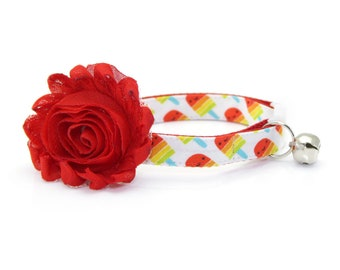 "Cat Collar + Flower Set - ""Rainbow Popsicles"" - Red Popsicle Cat Collar w/ ""Scarlet Red"" Flower (Detachable) / Ice Cream / Cat & Small Dog"