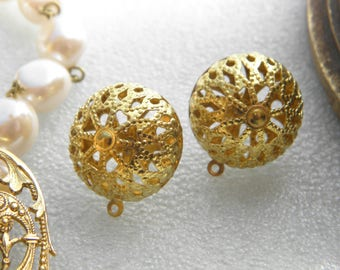1 pair of clasps nails Domes lace filigree for the Creation of Vintage earrings