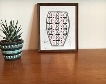 Pink, black and grey vase reduction lino print in dark wood Vintage frame
