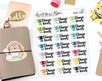 Change Towels Planner Stickers - Cleaning Planner Stickers - Laundry Planner Stickers - Adulting Stickers - Functional Stickers - 1447