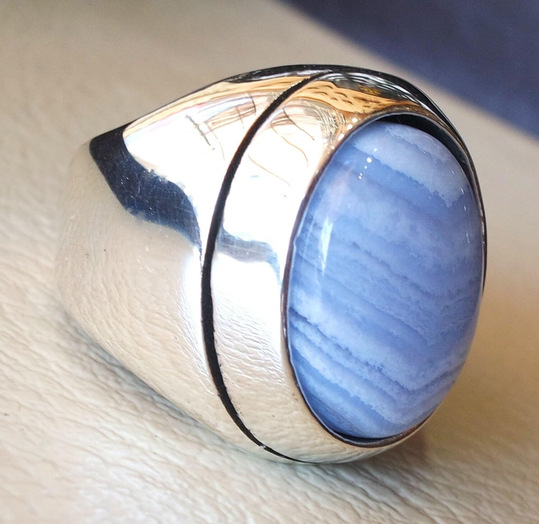 blue lace agate natural stone silver 925 huge men ring vintage