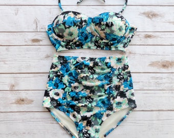 Bustier Bikini Swimsuit - Vintage Style High Waisted Ruched Pin-up Retro Style Swimwear - Blue Mint Black White Floral Print Bathing Suit