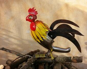 GALLO in materiali di recupero, da appendere come un quadro, arredamento e design, recycling art, rooster