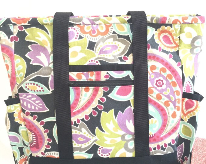 Teacher Tote Bag, Nurse Tote Bag, Large zippered tote with pockets, Kitchen Sink Tote, Professional Tote, Travel Tote, Diaper Bag